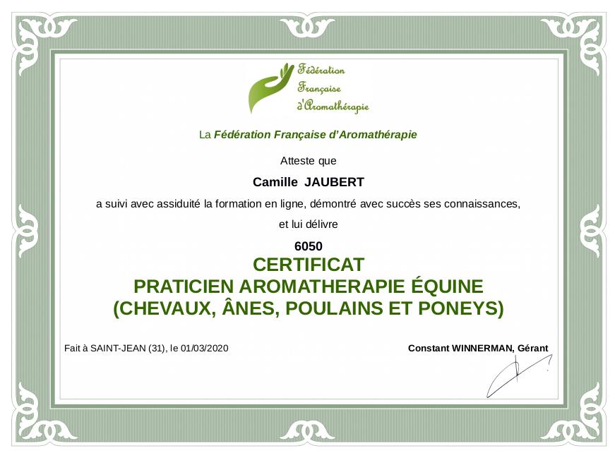 Certificat aromathérapie Camille Jaubert