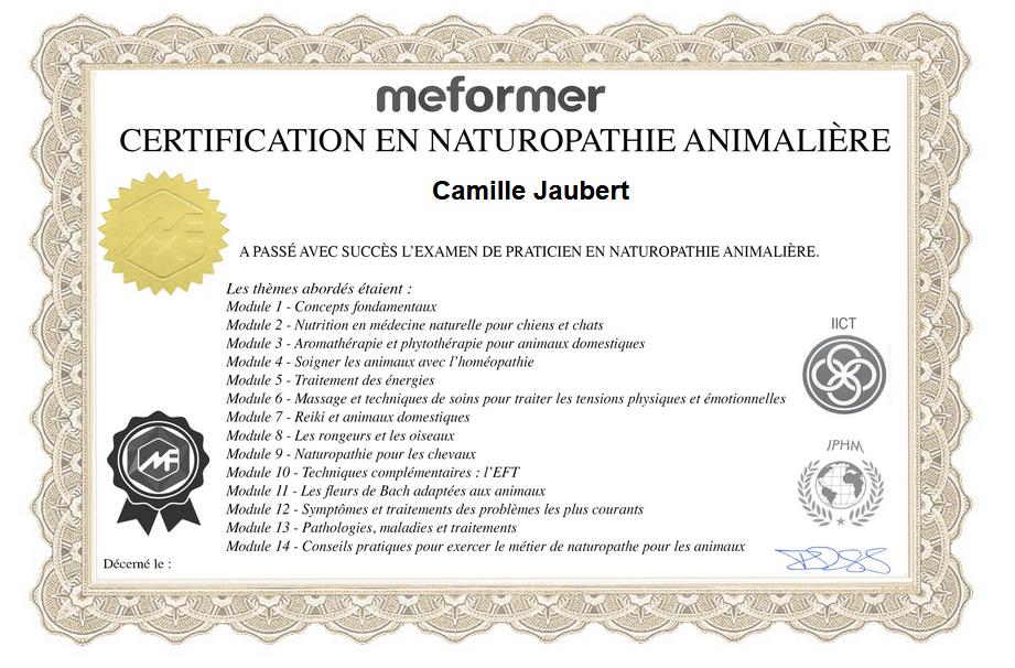Certificat naturopathie Camille Jaubert